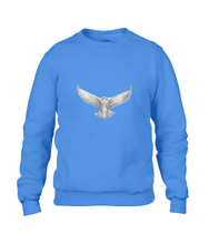 JanaRoos - T-shirts and Sweaters - Sweater - Packshot - Hand drawn illustration - Round neck - Long sleeves - Cotton - Blauw - Blue - snowy owl - sneeuwuil