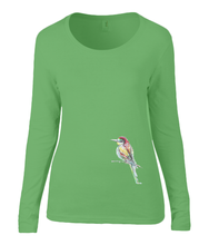 Women T-shirt -  organic cotton - long sleeved - round neck - black - zwart - printdesign - drawing - JanaRoos - apple green - appel groen -  colorful bird - kingfisher - ijsvogel - vogel