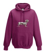 JanaRoos - Hoodies - Kids Hoodie - Packshot - Hand drawn illustration - Round neck - Long sleeves - Cotton - burgundy - paars - dachshund - teckel - dog - hond