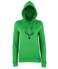 JanaRoos - women's Hoodie - Packshot - Hand drawn illustration - Round neck - Long sleeves - Cotton -kelly green- Deer black ink