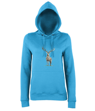 JanaRoos - women's Hoodie - Packshot - Hand drawn illustration - Round neck - Long sleeves - Cotton -sapphire blue - deer colored