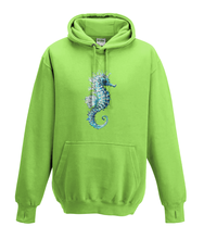 JanaRoos - Hoodies - Kids Hoodie - Packshot - Hand drawn illustration - Round neck - Long sleeves - Cotton - lime green - lemoen groen - sea horse - zeepaardje