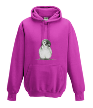 JanaRoos - Hoodies - Kids Hoodie - Packshot - Hand drawn illustration - Round neck - Long sleeves - Cotton - hot pink - roos - Penguin - Pinguïn