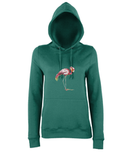 JanaRoos - women's Hoodie - Packshot - Hand drawn illustration - Round neck - Long sleeves - Cotton -jade - flamingo