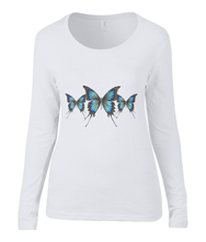 Women T-shirt -  organic cotton - long sleeved - round neck - white - wit - printdesign - drawing - JanaRoos - butterflies - vlinders