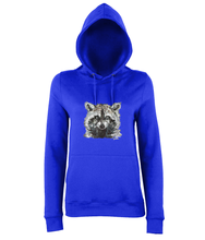 JanaRoos - women's Hoodie - Packshot - Hand drawn illustration - Round neck - Long sleeves - Cotton - Royal blue - raccoon