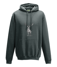 JanaRoos - Hoodie - Packshot - Hand drawn illustration - Round neck - Long sleeves - Cotton - charcoal - deer