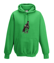JanaRoos - Hoodies - Kids Hoodie - Packshot - Hand drawn illustration - Round neck - Long sleeves - Cotton - kelly green - groen- horse - black merrie - paard