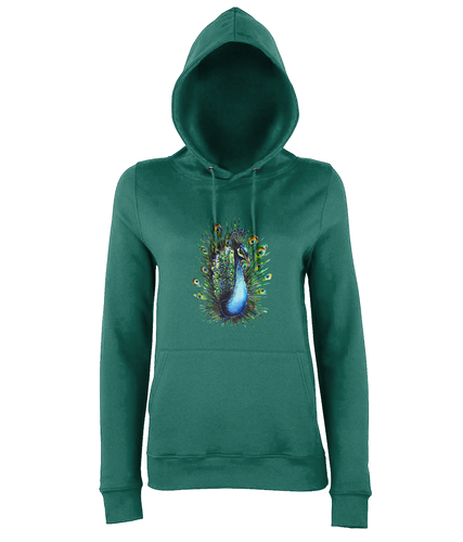 JanaRoos - women's Hoodie - Packshot - Hand drawn illustration - Round neck - Long sleeves - Cotton - jade - Peacock