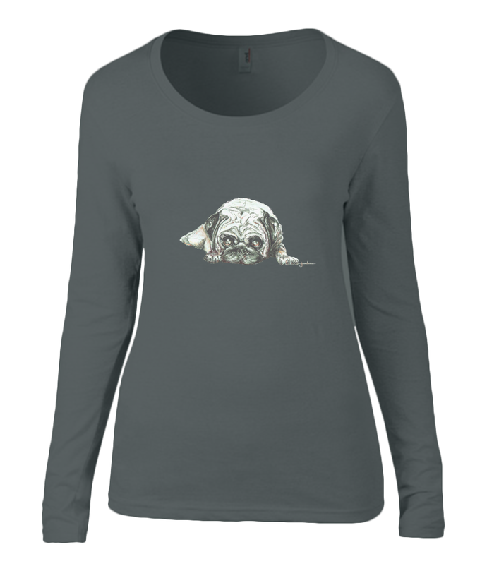 Women T-shirt -  organic cotton - long sleeved - round neck - black - zwart - printdesign - drawing - JanaRoos - Pugg - mops - dog - hond