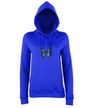 JanaRoos - women's Hoodie - Packshot - Hand drawn illustration - Round neck - Long sleeves - Cotton -royal blue- butterfly