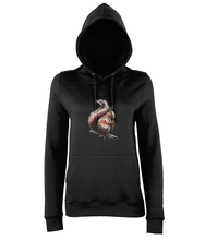 JanaRoos - women's Hoodie - Packshot - Hand drawn illustration - Round neck - Long sleeves - Cotton -black-squirrel