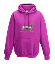 JanaRoos - Hoodies - Kids Hoodie - Packshot - Hand drawn illustration - Round neck - Long sleeves - Cotton - pink - roos - dachshund - teckel - dog - hond