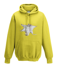 JanaRoos - Hoodies - Kids Hoodie - Packshot - Hand drawn illustration - Round neck - Long sleeves - Cotton - yellow - geel - flying squirrel - vliegende eekhoorn