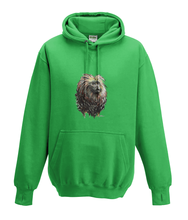 JanaRoos - Hoodies - Kids Hoodie - Packshot - Hand drawn illustration - Round neck - Long sleeves - Cotton - kelly green - groen - golden lion monkey - leeuwaapje