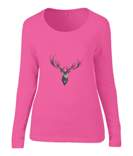 Women T-shirt -  organic cotton - long sleeved - round neck - coral - roos - printdesign - drawing - JanaRoos - reindeer - deer - rendier - hert