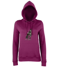 JanaRoos - women's Hoodie - Packshot - Hand drawn illustration - Round neck - Long sleeves - Cotton -burgundy- Black merrie-horse