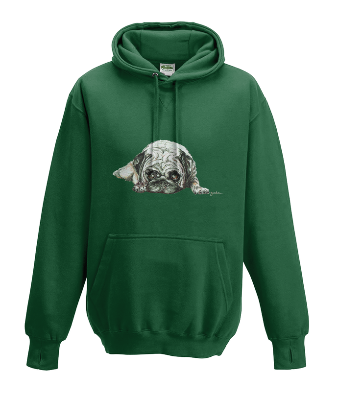 JanaRoos - Hoodies - Kids Hoodie - Packshot - Hand drawn illustration - Round neck - Long sleeves - Cotton - bottle green - fles groen - pugg - mops - dog - hond