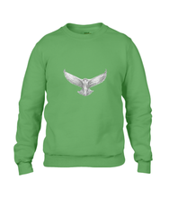 JanaRoos - T-shirts and Sweaters - Sweater - Packshot - Hand drawn illustration - Round neck - Long sleeves - Cotton - apple green - snowy owl - sneeuwuil