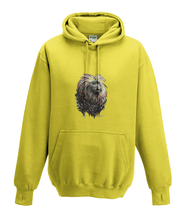 JanaRoos - Hoodies - Kids Hoodie - Packshot - Hand drawn illustration - Round neck - Long sleeves - Cotton - yellow - geel - golden lion monkey - leeuwaapje