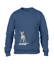 JanaRoos - T-shirts and Sweaters - Sweater - Packshot - Hand drawn illustration - Round neck - Long sleeves - Cotton - navy blue - marine  blauw - Bambi - baby deer - hert