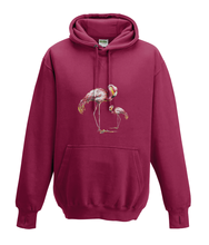 JanaRoos - Hoodies - Kids Hoodie - Packshot - Hand drawn illustration - Round neck - Long sleeves - Cotton - red hot chilli - diep rood- flamingo's