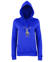 JanaRoos - women's Hoodie - Packshot - Hand drawn illustration - Round neck - Long sleeves - Cotton - royal blue - deer colored