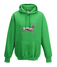 JanaRoos - Hoodies - Kids Hoodie - Packshot - Hand drawn illustration - Round neck - Long sleeves - Cotton -kelly green - groen - dachshund - teckel - dog - hond