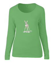 Women T-shirt -  organic cotton - long sleeved - round neck - black - zwart - printdesign - drawing - JanaRoos - apple green - appel groen - bambi - baby deer - hert