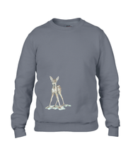 JanaRoos - T-shirts and Sweaters - Sweater - Packshot - Hand drawn illustration - Round neck - Long sleeves - Cotton - charcoal - grijs - Bambi - baby deer - hert