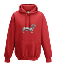 JanaRoos - Hoodies - Kids Hoodie - Packshot - Hand drawn illustration - Round neck - Long sleeves - Cotton - fire red - vuurrood - dachshund - teckel - dog - hond