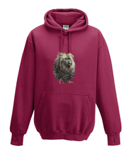 JanaRoos - Hoodies - Kids Hoodie - Packshot - Hand drawn illustration - Round neck - Long sleeves - Cotton - red hot chilli - dieprood - golden lion monkey - leeuwaapje