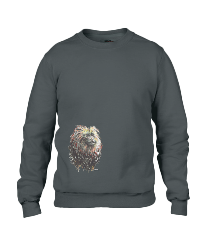 JanaRoos - T-shirts and Sweaters - Unisex Sweater - Packshot - Hand drawn illustration - Round neck - Long sleeves - Cotton -black - zwart - lion tamarin monkey  - leeuwaapje