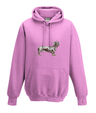 JanaRoos - Hoodies - Kids Hoodie - Packshot - Hand drawn illustration - Round neck - Long sleeves - Cotton - candy pink - roos - dachshund - teckel - dog - hond