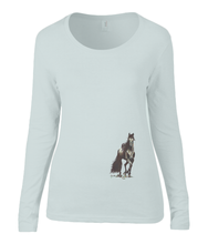 Women T-shirt -  organic cotton - long sleeved - round neck - silver grey - zliver grijs - printdesign - drawing - JanaRoos - horse - black merrie - paard