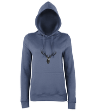 JanaRoos - women's Hoodie - Packshot - Hand drawn illustration - Round neck - Long sleeves - Cotton -airforce blue- Deer black ink