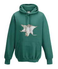 JanaRoos - Hoodies - Kids Hoodie - Packshot - Hand drawn illustration - Round neck - Long sleeves - Cotton - jade - appel blauw zeegroen- flying squirrel - vliegende eekhoorn