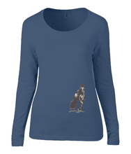 Women T-shirt -  organic cotton - long sleeved - round neck - navy blue - marine blauw - printdesign - drawing - JanaRoos - horse - black merrie - paard
