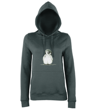 JanaRoos - women's Hoodie - Packshot - Hand drawn illustration - Round neck - Long sleeves - Cotton - charcoal grey - penguin