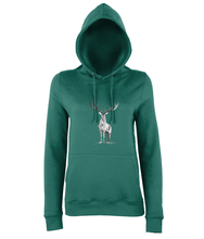 JanaRoos - women's Hoodie - Packshot - Hand drawn illustration - Round neck - Long sleeves - Cotton - jade blue - deer- black&white