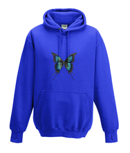 JanaRoos - Hoodies - Kids Hoodie - Packshot - Hand drawn illustration - Round neck - Long sleeves - Cotton - royal blue - royaal blauw -  butterflie - vlinder