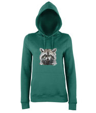 JanaRoos - women's Hoodie - Packshot - Hand drawn illustration - Round neck - Long sleeves - Cotton -jade blue - raccoon