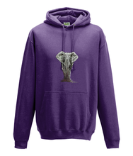 JanaRoos - Hoodie - Packshot - Hand drawn illustration - Round neck - Long sleeves - Cotton - purple - olifant - elephant
