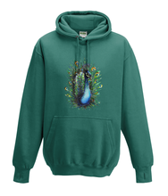 JanaRoos - Hoodies - Kids Hoodie - Packshot - Hand drawn illustration - Round neck - Long sleeves - Cotton - jade - appelblauw zeegroen- peacock - pauw