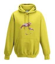 JanaRoos - Hoodies - Kids Hoodie - Packshot - Hand drawn illustration - Round neck - Long sleeves - Cotton - yellow - geel  - flamingo's