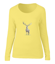 Women T-shirt -  organic cotton - long sleeved - round neck - yellow - geel - printdesign - drawing - JanaRoos - reindeer - deer - rendier - hert