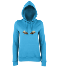 JanaRoos - women's Hoodie - Packshot - Hand drawn illustration - Round neck - Long sleeves - Cotton -sapphire blue- Bee