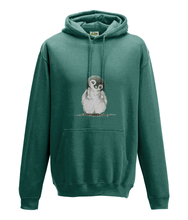 JanaRoos - Hoodie - Packshot - Hand drawn illustration - Round neck - Long sleeves - Cotton -jade - penguin
