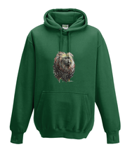 JanaRoos - Hoodies - Kids Hoodie - Packshot - Hand drawn illustration - Round neck - Long sleeves - Cotton - bottle green - fles groen - golden lion monkey - leeuwaapje