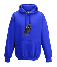JanaRoos - Hoodies - Kids Hoodie - Packshot - Hand drawn illustration - Round neck - Long sleeves - Cotton - royal bleu - blauw - horse - black merrie - paard